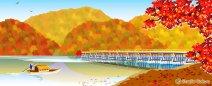 風景イラスト《嵐山と渡月橋》