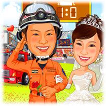 消防士レスキュー隊員(勝利凱旋・作業服姿)似顔絵ウェルカムボード