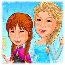 アナと雪の女王・誕生日祝い似顔絵