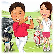 似顔絵ウェルカムボード:ゴルフ-7-縦(スイングショット・愛犬愛車追加)