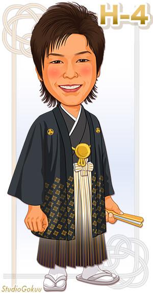 新郎着物・紋付き羽織袴H-4 金色紋付き羽織袴