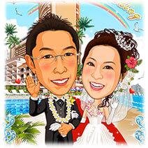 ワイキキハレクラニ ホテル結婚式似顔絵ウェルカムボード