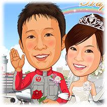 JAL航空機整備士似顔絵ウェルカムボード