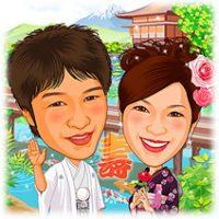 日本庭園背景和装似顔絵ウェルカムボード