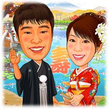 金沢兼六園背景和装似顔絵ウェルカムボード