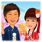 日本庭園(色打掛和装・満開の桜の下)背景和装似顔絵ウェルカムボード