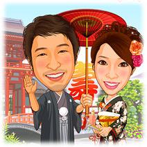 着物姿の花嫁・神社背景の似顔絵ウェルカムボード