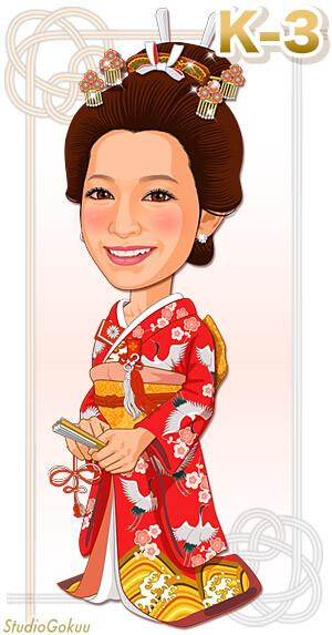 新婦振り袖着物K-3 花嫁の文金高島田髪型と伝統紋様振り袖着物