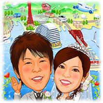 思い出の町神戸港背景の似顔絵ウェルカムボード