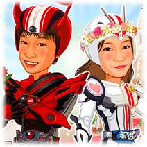 仮面ライダー-5(仮面ライダードライブ・マッハコスチューム)似顔絵ウェルカムボード