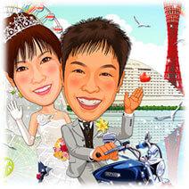 神戸港背景バイク2ショット似顔絵ウェルカムボード
