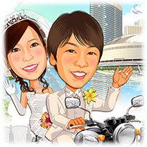 博多港背景バイク相乗り似顔絵ウェルカムボード