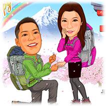 富士山麓でプロポーズする新婚カップルの似顔絵ウェルカムボード