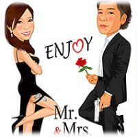 Mr&Mrsスミス-似顔絵ウェルカムボード