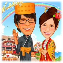 新郎新婦は沖縄伝統衣装姿、首里城背景