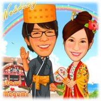 似顔絵ウェルカムボード:沖縄-5 沖縄伝統衣装姿、首里城背景