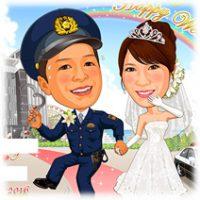 ご同行願う-神戸港教会背景-似顔絵ウェルカムボード