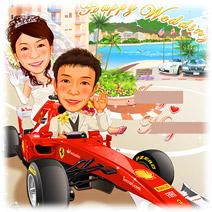 F1 レーシングカー・フェラーリカーレーサー似顔絵ウェルカムボード