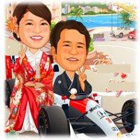 レーシングカーに乗る新婚カップルの似顔絵ウェルカムボード