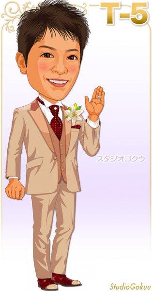 結婚式新郎ブラウン・ベージュ系タキシードT-5