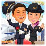 鉄道駅職員カップルの似顔絵ウェルカムボード(JR・新幹線N700系・新婦看護婦姿)